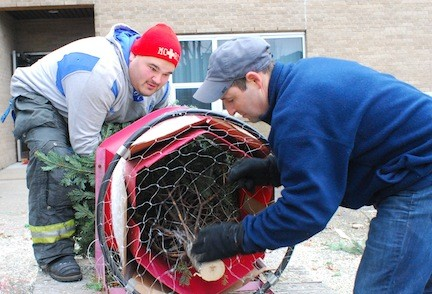Monsen and Mike Sankovsky packaged a tree in plastic mesh to transport it after it was sold.