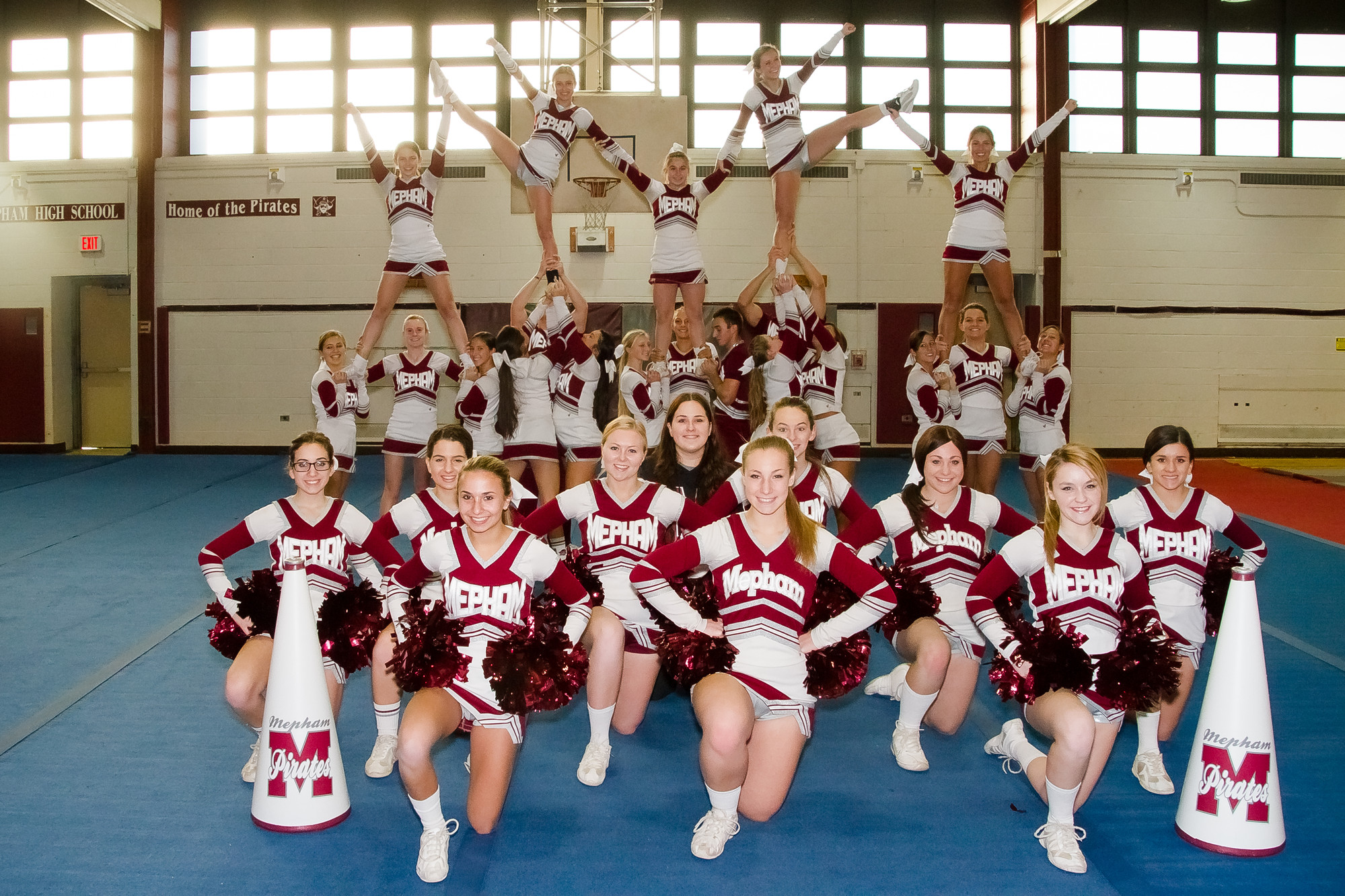 The Mepham High School varsity cheerleading team, which recently qualified for the national championships, has been working on its routine since August.