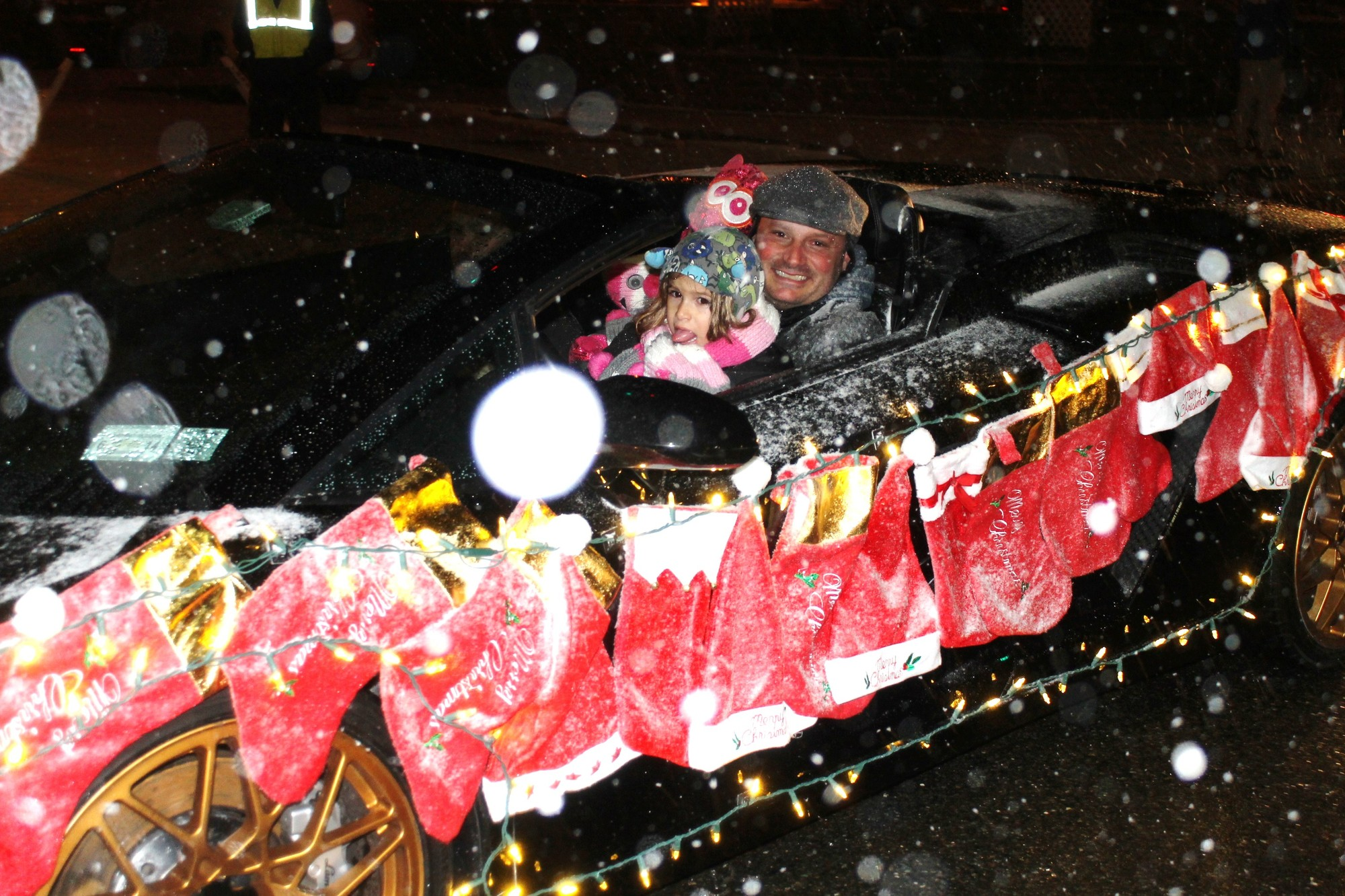 Cars and floats were decorated with lights and holiday decorations.