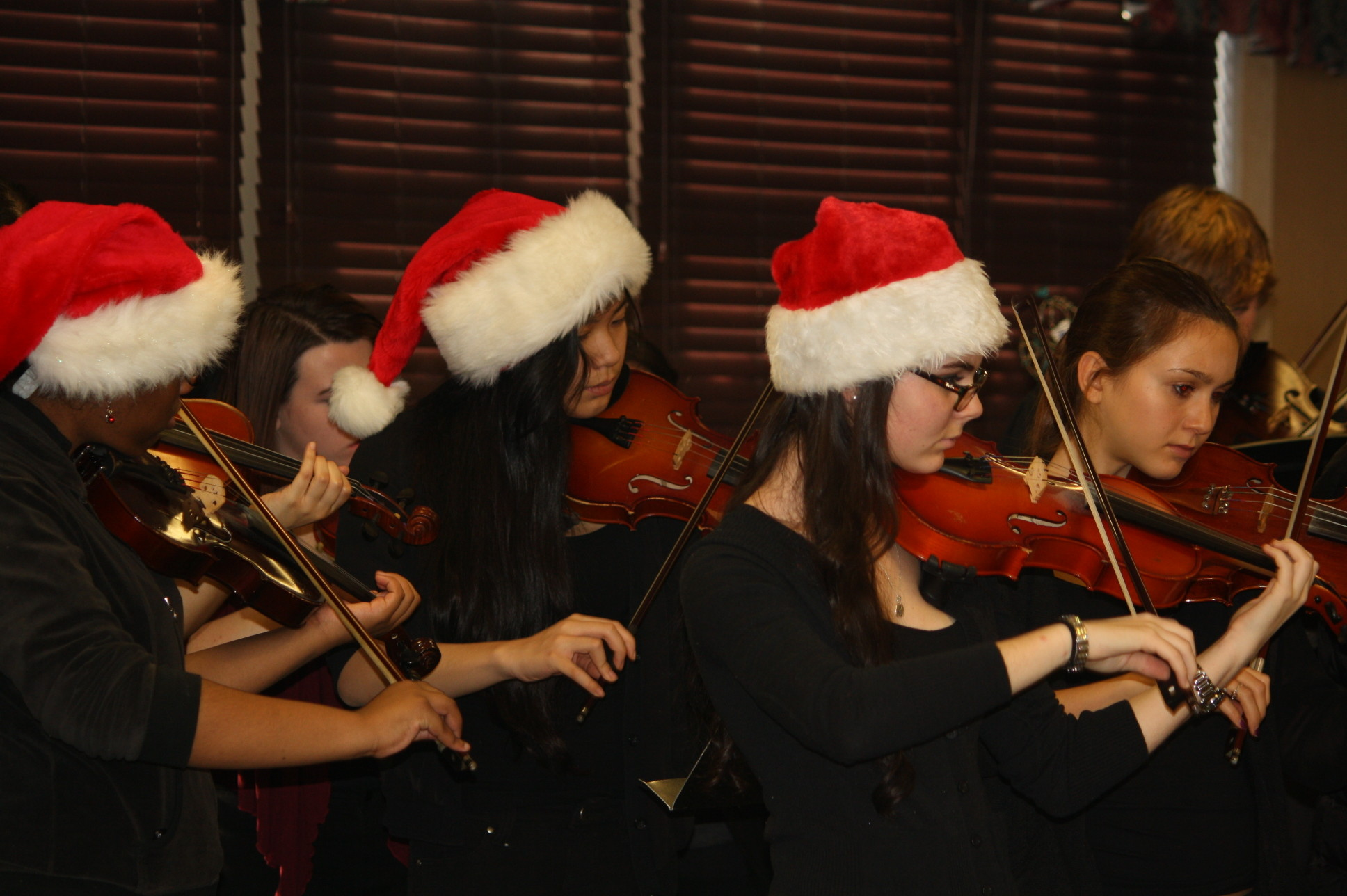 The Long Beach High School chamber orchestra performed a festive holiday concert for guests at the Grandell Rehabilitation and Nursing Center in Long Beach.