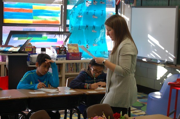 Teacher Danielle Dodge uses poetry in her classroom on a regular basis to teach students how to read a passage in-depth.