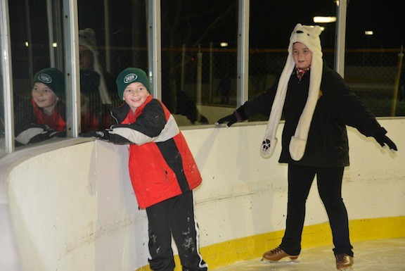 Joe Garofalo, 9, and sister Kaitlin, 12, took part in the Valley Stream on Ice skating session at Grant Park last Thursday night.