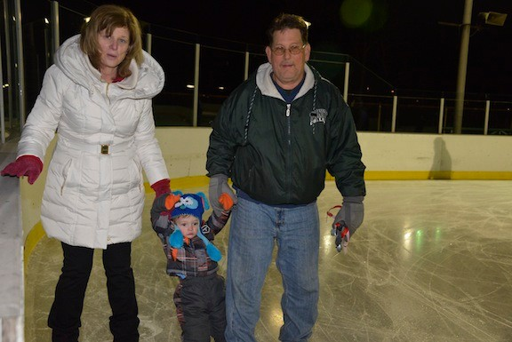 Debbie and George Fox with Logan Lord, like many skaters didn't stray too far from the boards as the circled the ice rink on a chilly but clear night.