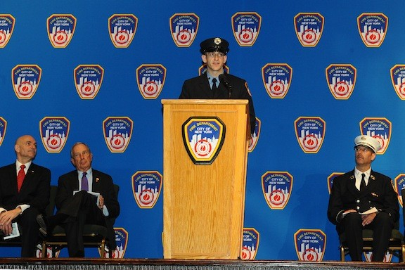 Connor Geraghty, his fire academy class's valedictorian, spoke at the graduation ceremony on Dec. 5 at the Christian Cultural Center in Brooklyn.