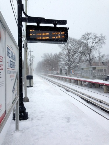 LIRR service was on a weekend schedule on Friday after the first snowstorm of the season. The scene at the Centre Avenue station in East Rockaway.