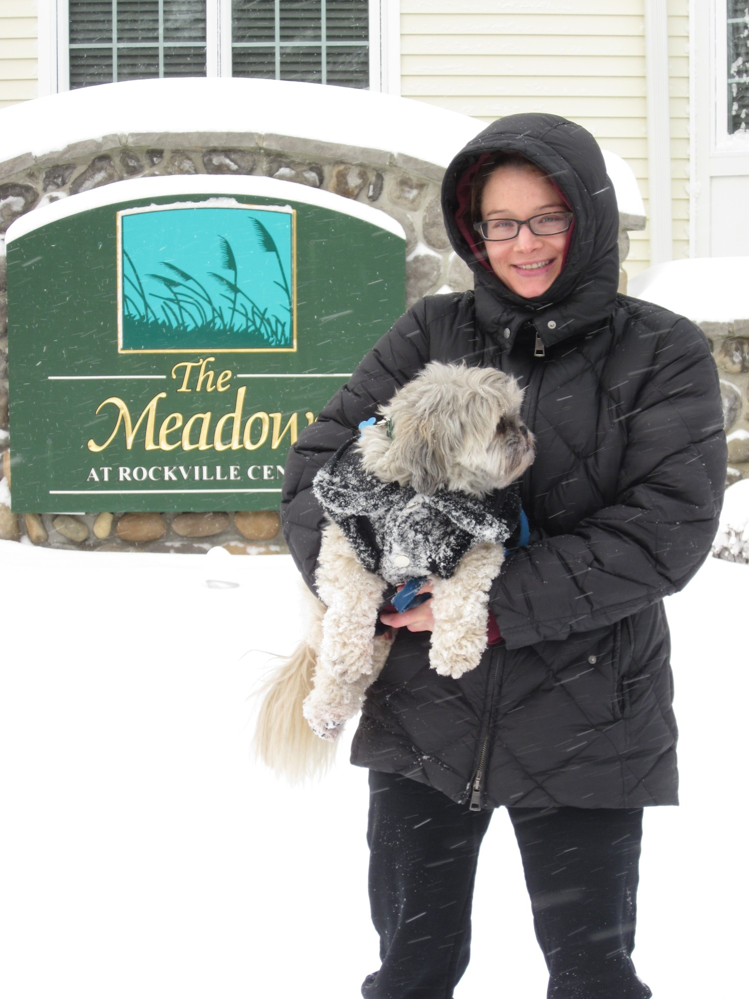 Melissa Gusuinov was out in the morning trying to find a cleared area so she could walk her dog, Phil.