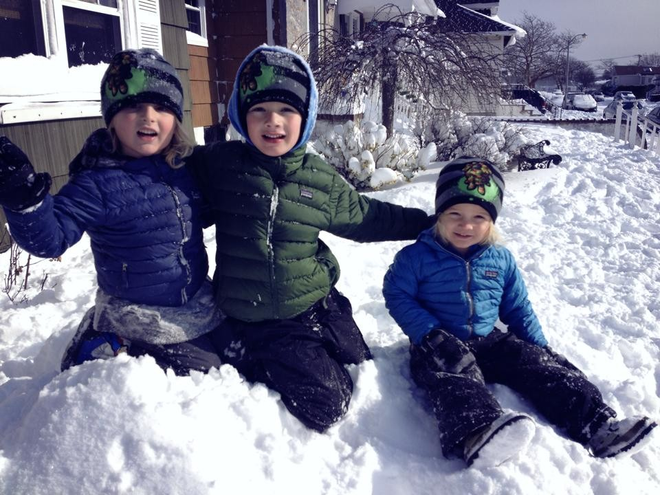 Ryan, Jack and Liam Farrell played in the snow.