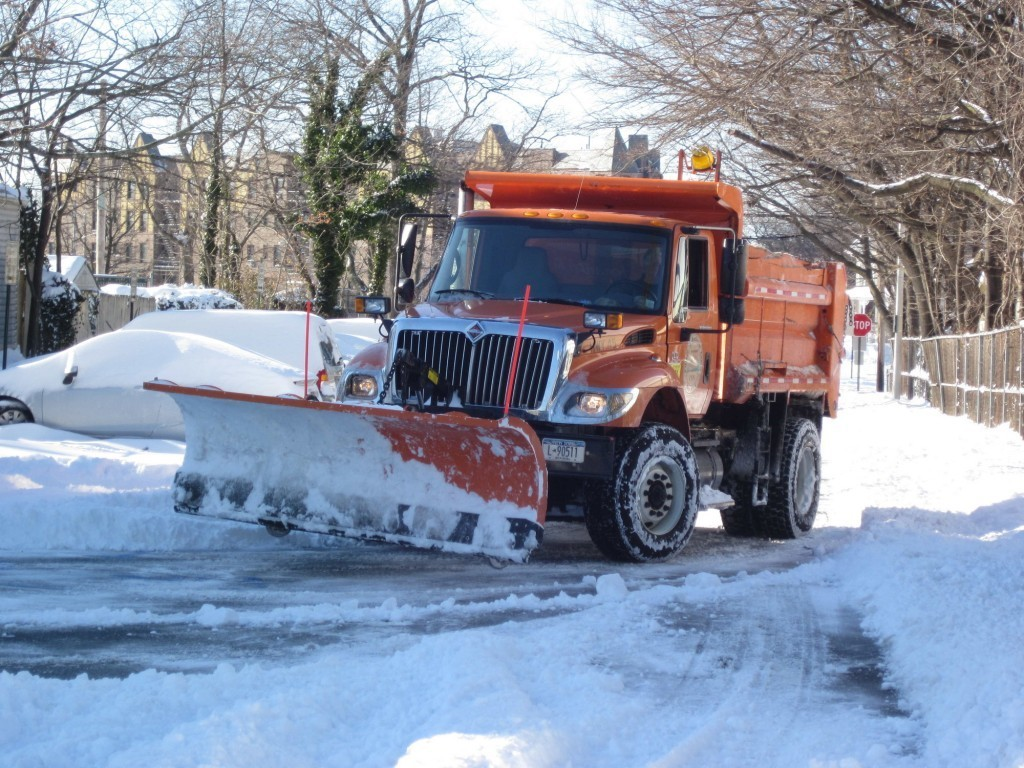 Village plows were out in force to clear snow off the streets.