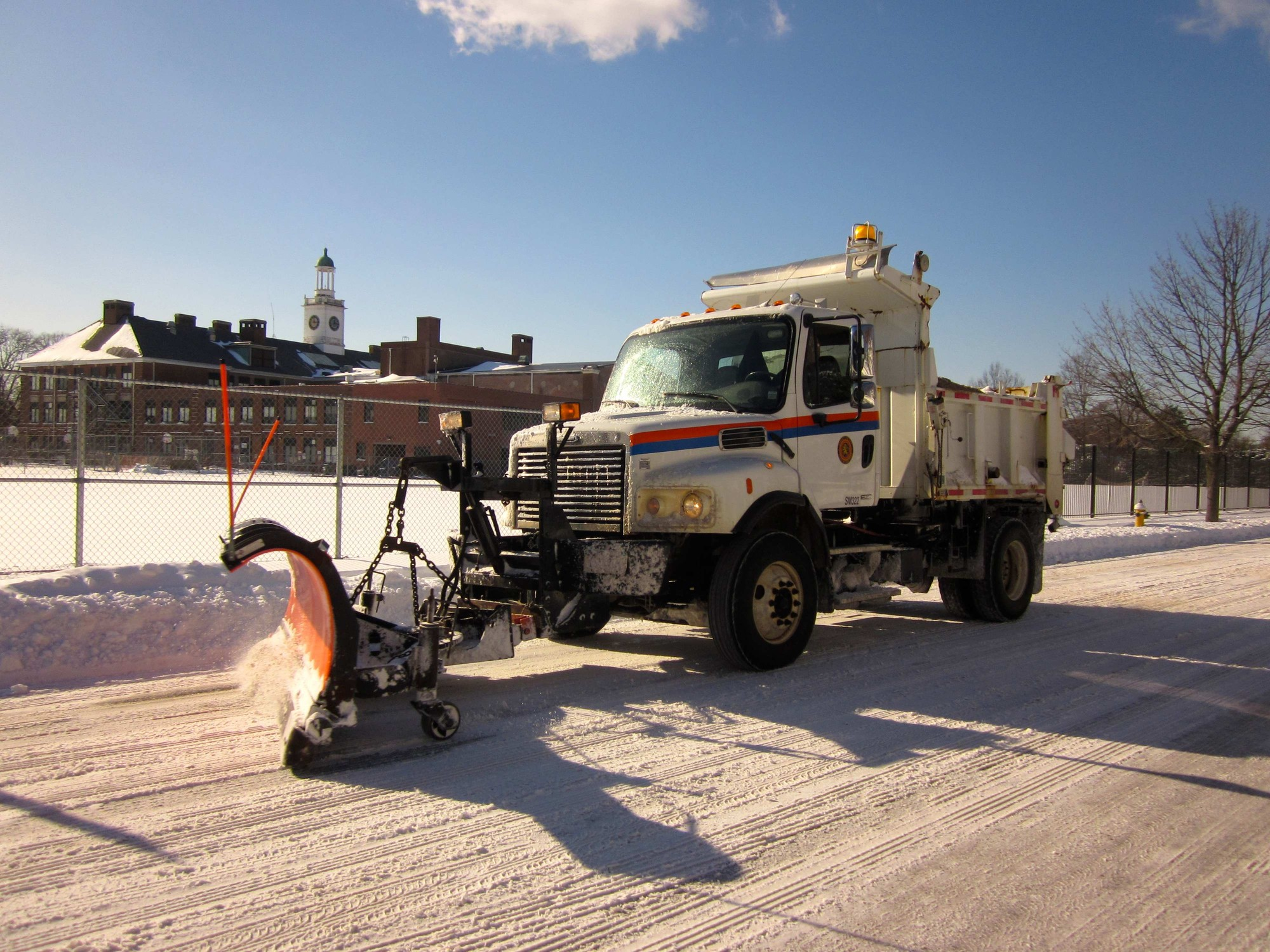 County plows were also out in Rockville Centre to clear snow off county roads.