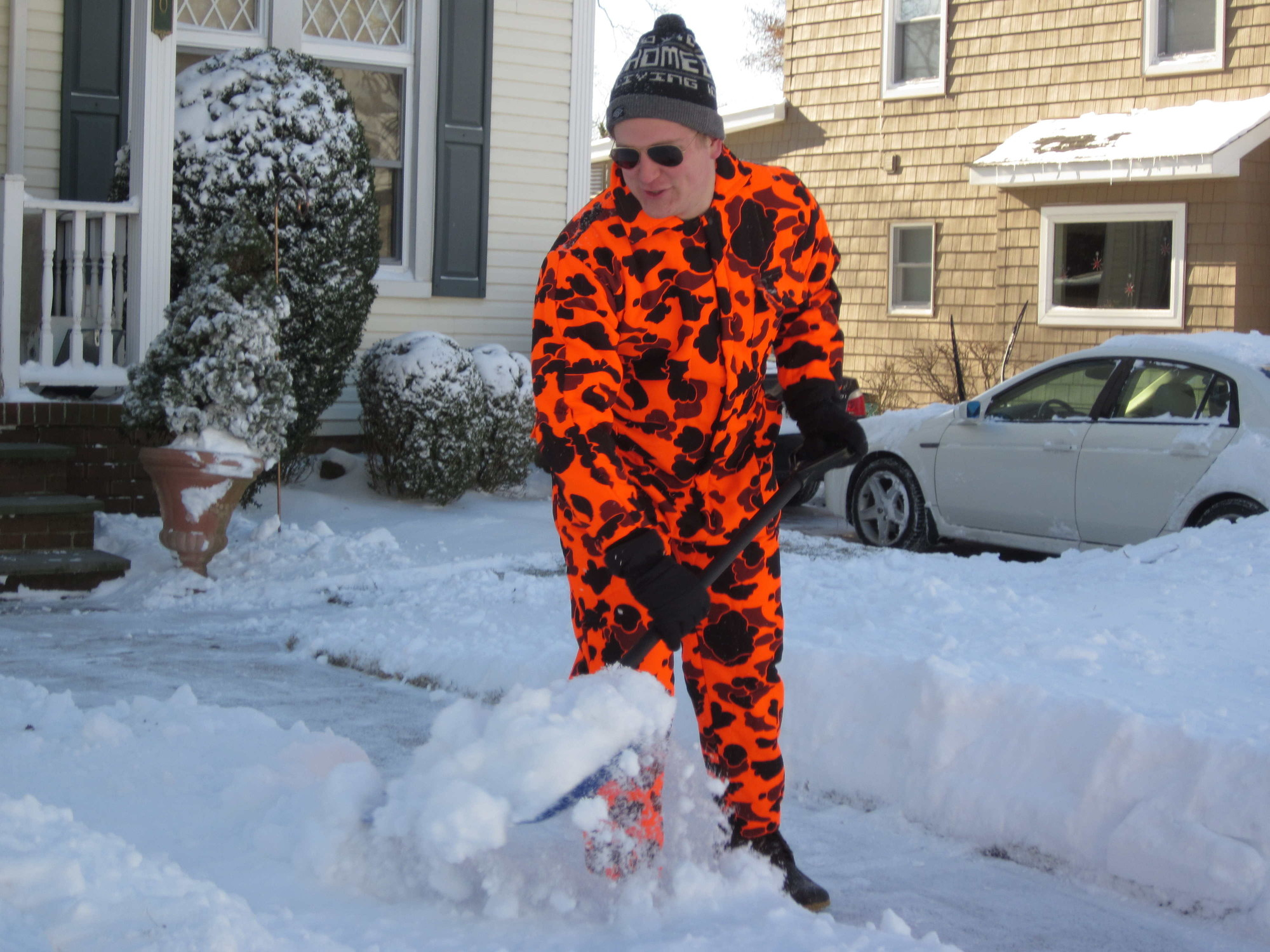 Kevin Conway, 24, finished shoveling the walk of his Lakeview Avenue home in Rockville Centre.