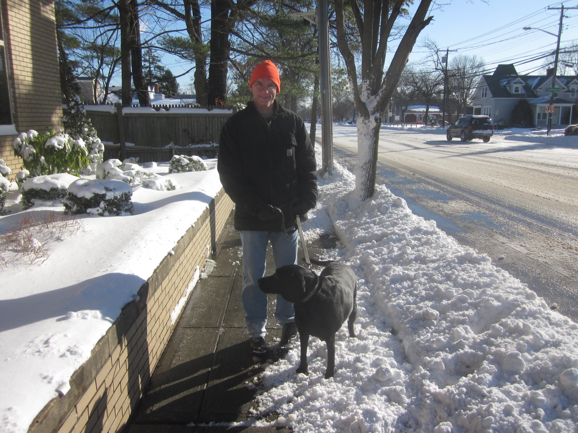 Surrey Drive resident Steven Smith walked his dog Lola in the snow.
