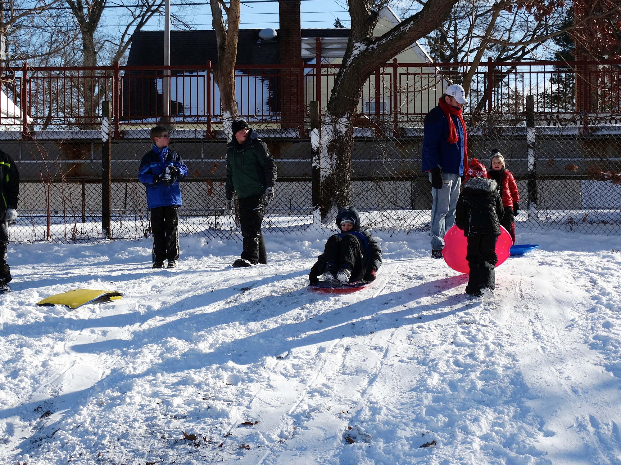 Children from Valley Stream and Malverne could be found sledding by the Westwood train station.