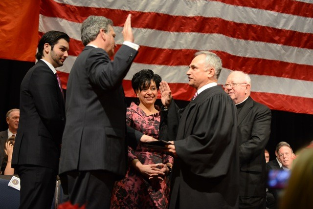 Ed Mangano, joined by his wife, Linda, and sons, Alex and Salvatore, was sworn in by Judge Thomas Feinman.