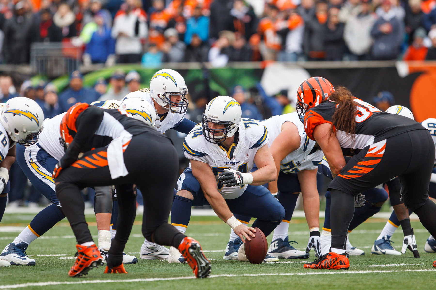 Rich Ohrnberger, at middle, stepped into action last Sunday and helped lead the San Diego Chargers to victory.