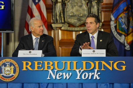 Vice President Joe Biden joined Gov. Andrew Cuomo on Tuesday as Cuomo unveiled a plan to rebuild New York's infrastructure, making it more resilient in order to adapt to changing weather.