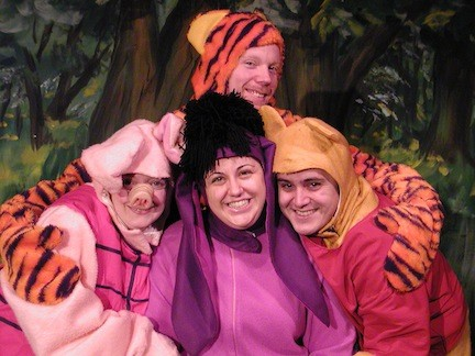 "Tigger, Piglet and Rabbit try to find Eeyore a birthday present in BroadHollow Theatre's staging of ""Winnie the Pooh"" in Elmont."