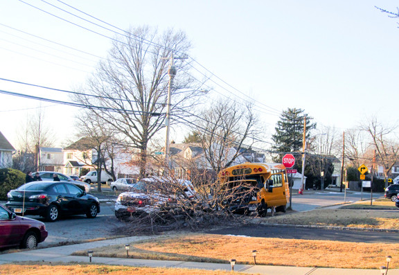 Police said children were on the bus at the time of the accident, but that no one was injured.