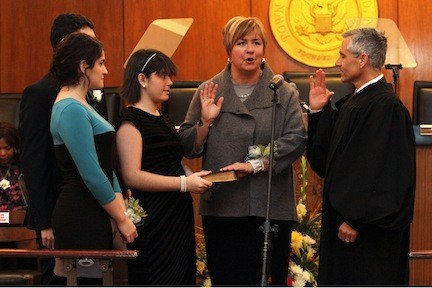 Town of Hempstead Supervisor Kate Murray was sworn into office last Thursday. She was accompanied by her nieces and nephew.