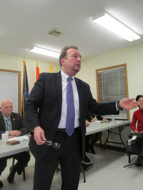 Attorney Paul Millus, who represents Island Park in the federal government's lawsuit against the village, made a point at a meeting at Village Hall on Jan. 9.