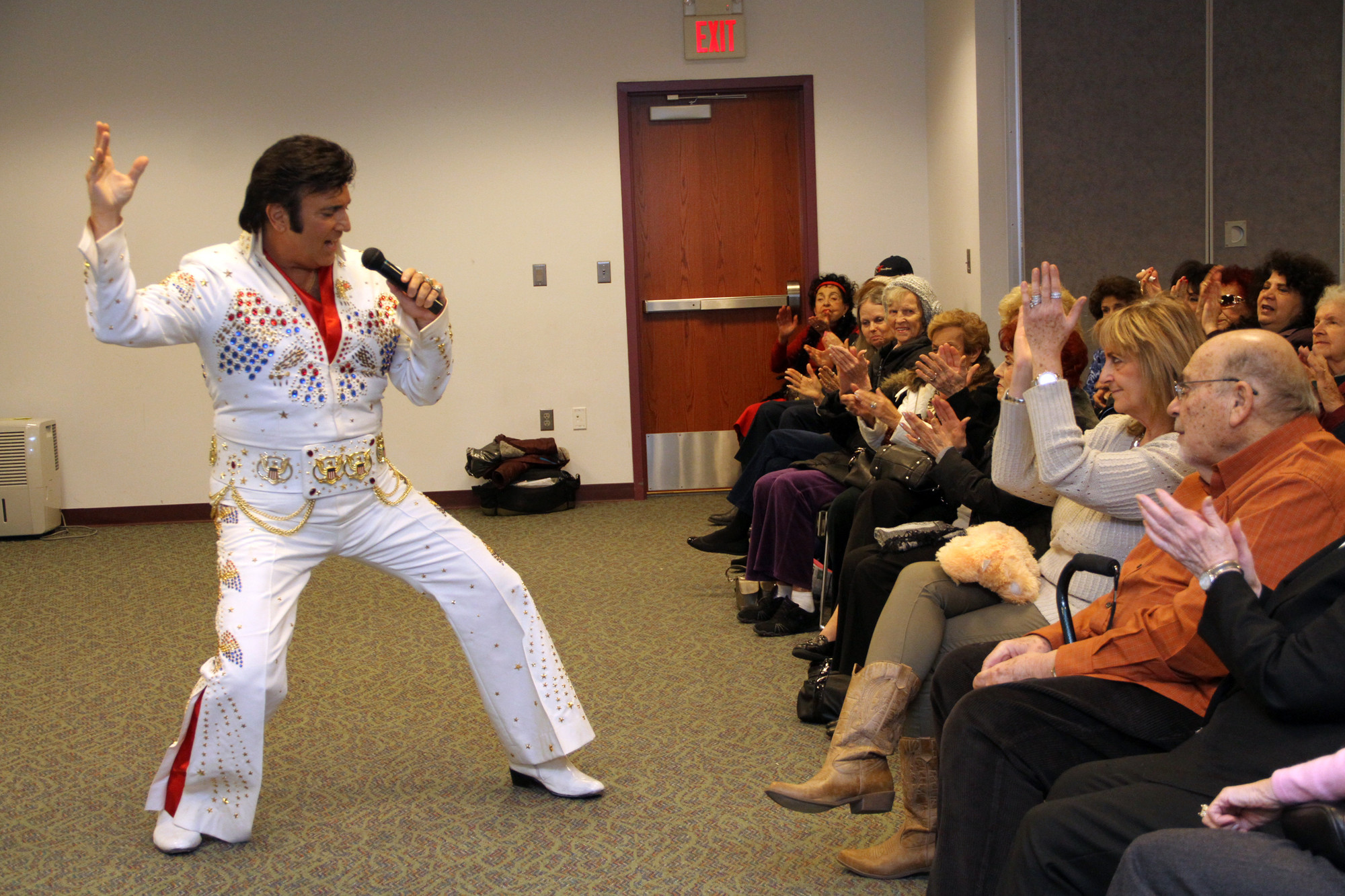 "Don Anthony performed The King's classic ""Hound Dog"" for a huge crowd at the West Hempstead Public Library on Jan. 12."
