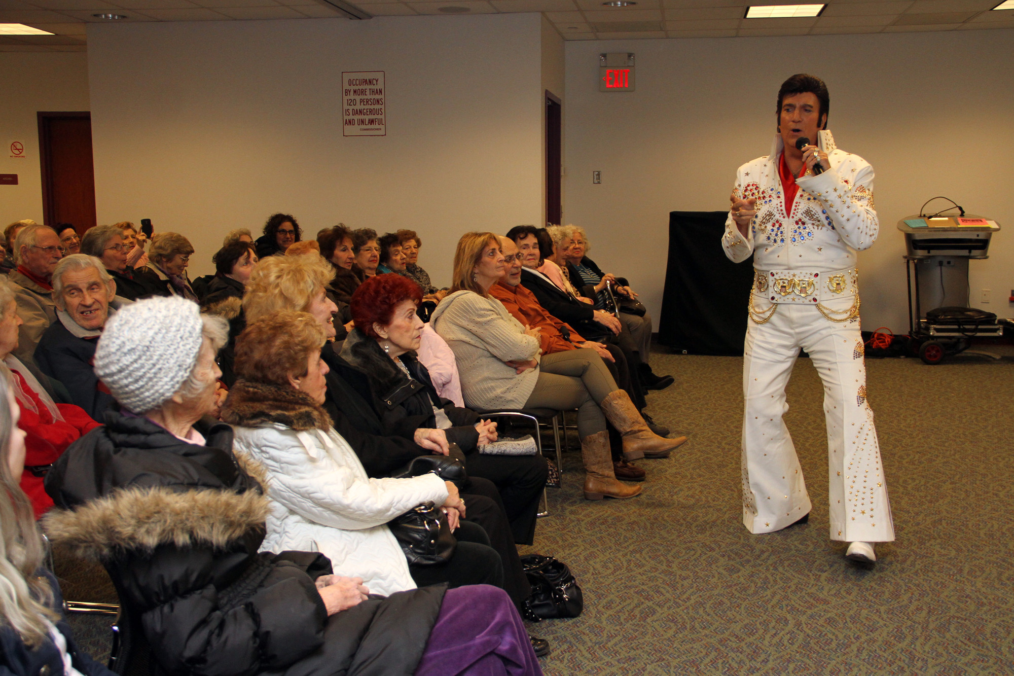 "Elvis, aka Don Anthony, sang ""Burning Love"" during a tribute to the King at West Hempstead Public Library on Jan. 12."