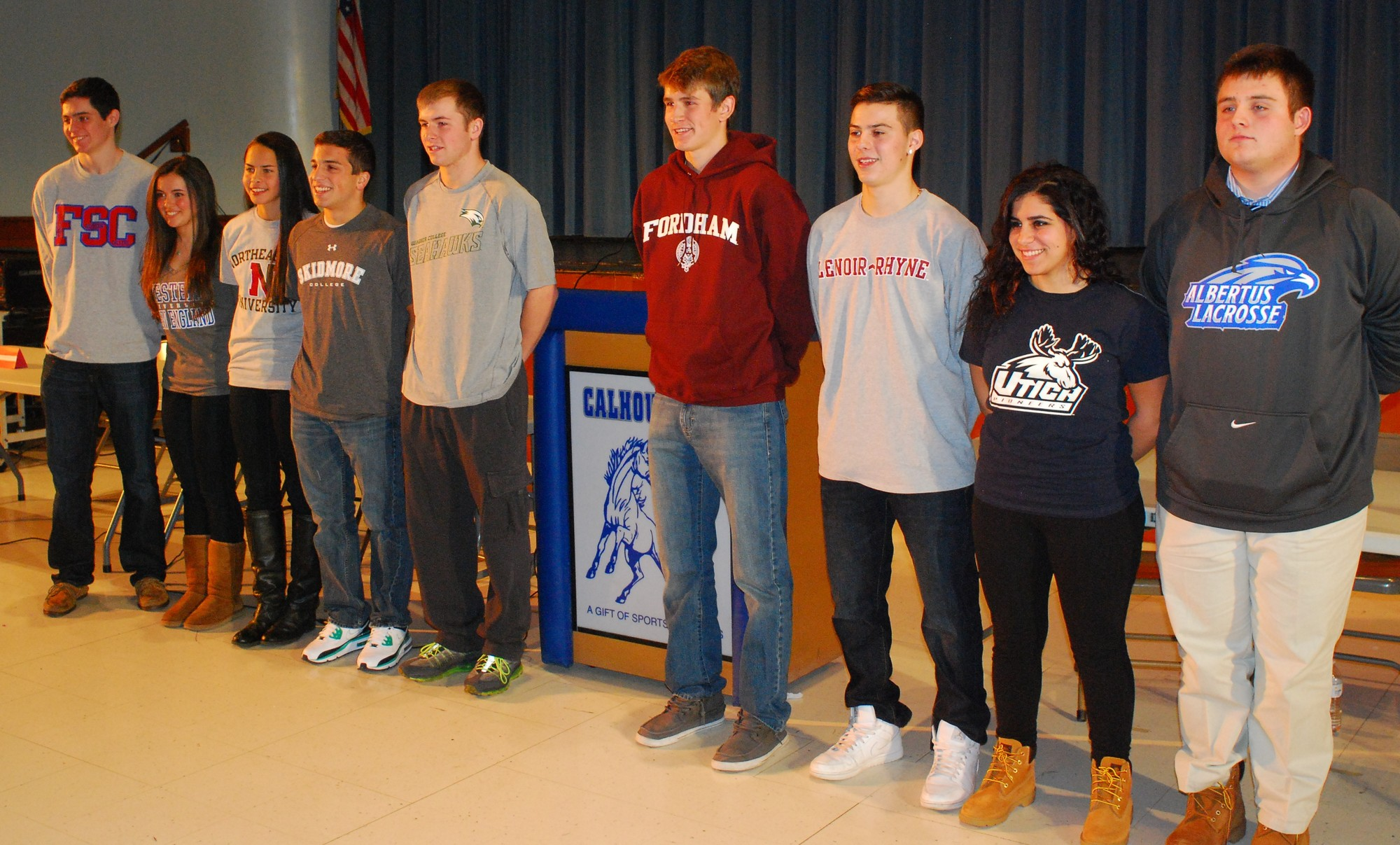 Nine Calhoun High School athletes will play sports in college next year. They are, from left, Colin Bayer, Emily Dolan, Kayla Cappuzzo, Nicholas Fronte, Kyle McGinley, Eric Ohlendorf, Jack Zito, Samantha Sanky and Jack Kerner.