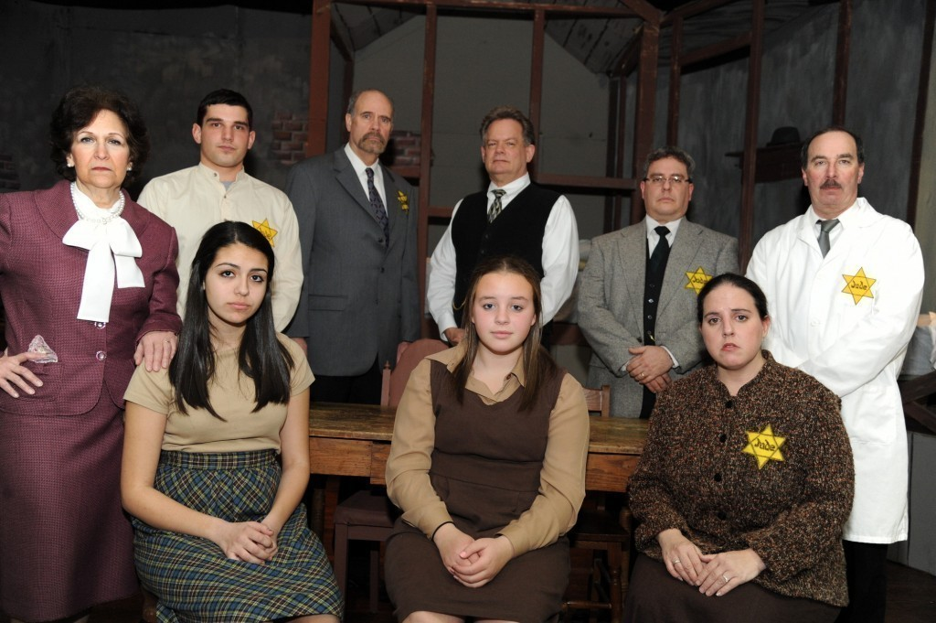 "The cast of ""The Diary of Anne Frank,"" clockwise from top left, Andrea Conwell, Matthew Tyler, Gary Conwell, Barry Block, Dan Rosner, Barry Friedlander, Alana Grossman, Samantha Epstein and Alana Reilly"