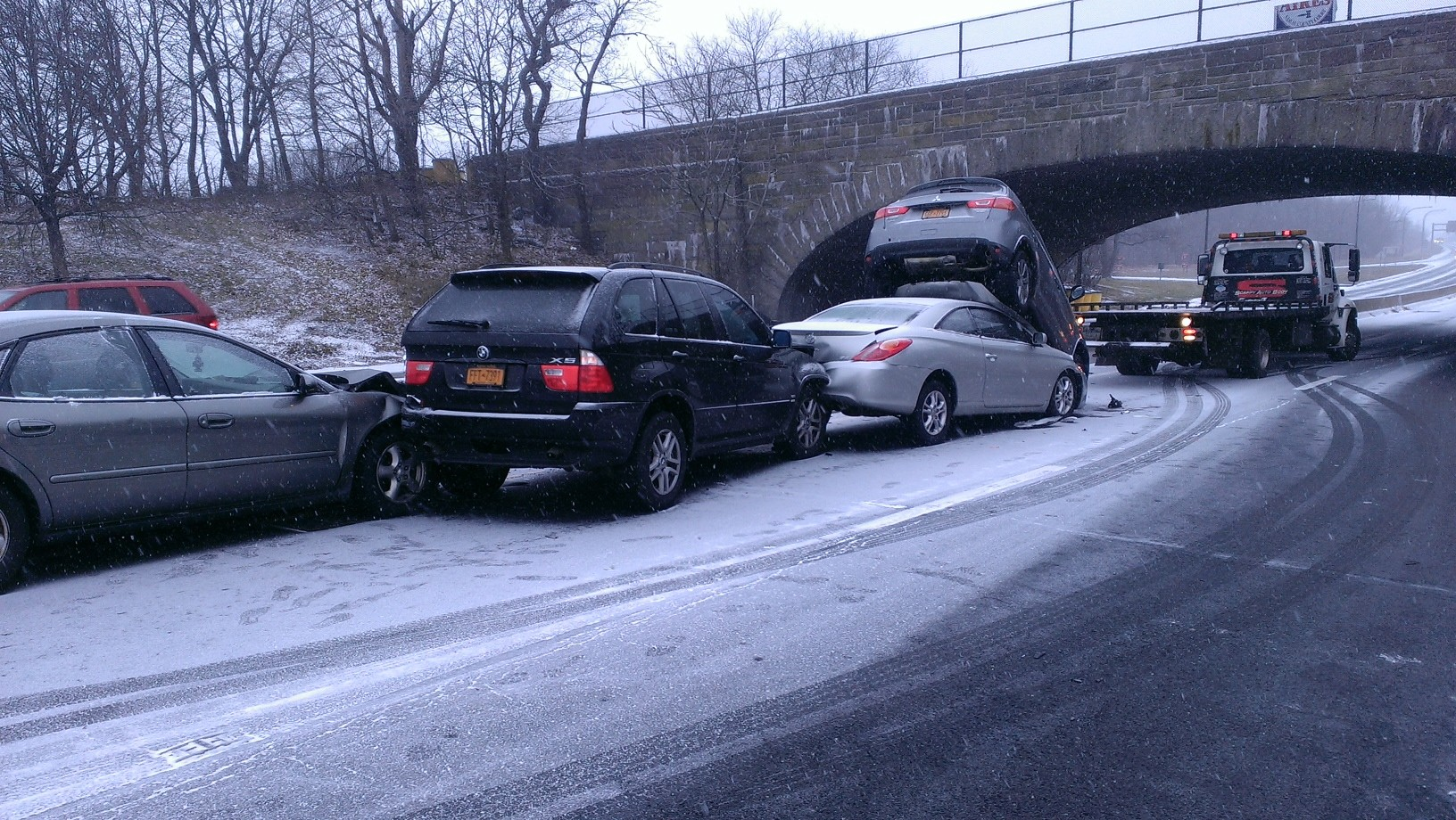 Traffic and collisions were already beginning on the Wantagh Parkway on Tuesday morning, thanks to the snow and icy temperatures.