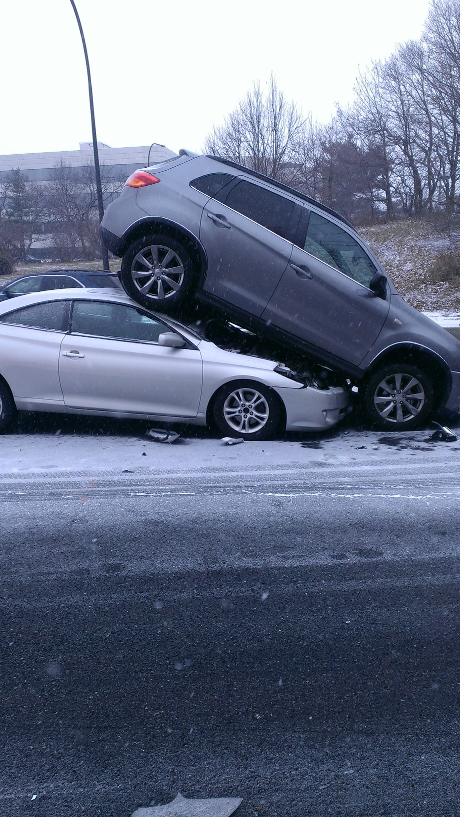 Icy, slippery roads are already causing accidents this morning. This collision was part of a seven-car pile up on the Wantagh Parkway Tuesday morning.