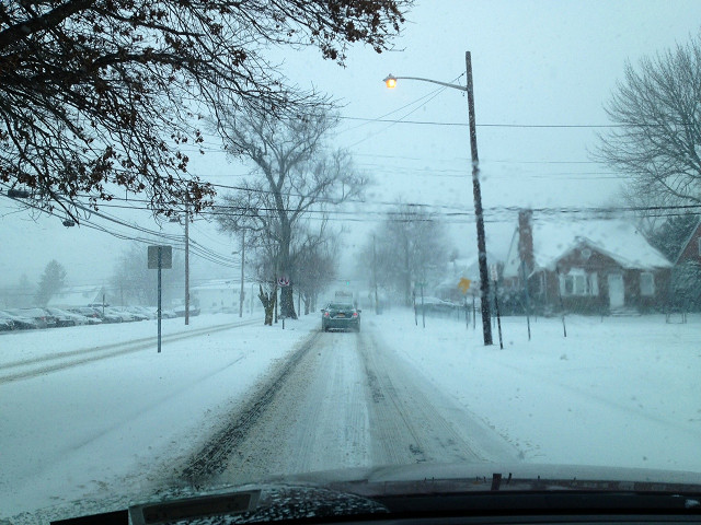 The roads were slick on Tuesday afternoon near Memorial Junior High School.