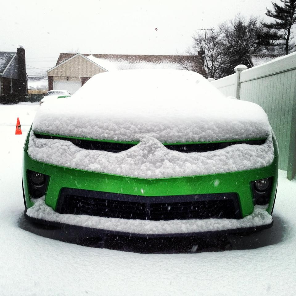 Andrew Trager showed the snow that accumulated on his car during the storm.