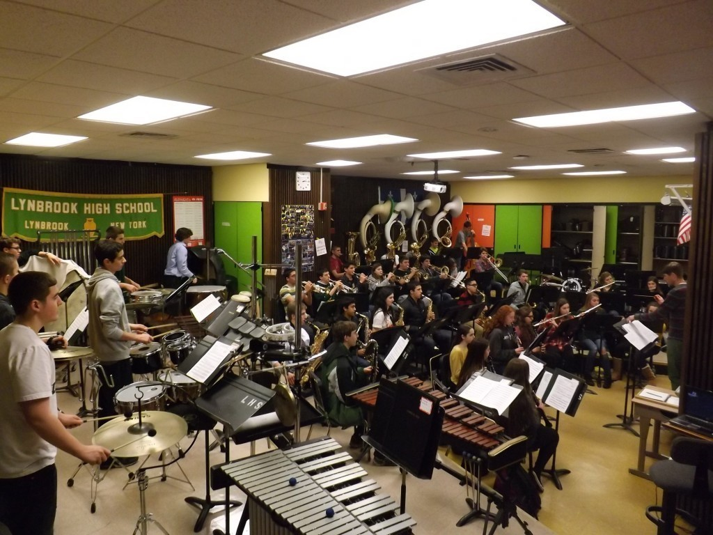 Lynbrook High School�s music program has grown in recent years, administrators said, and more room is needed for students to practice and perform. Band students rehearsed during 10th period last week in the current music room while orchestra students played in the auditorium.