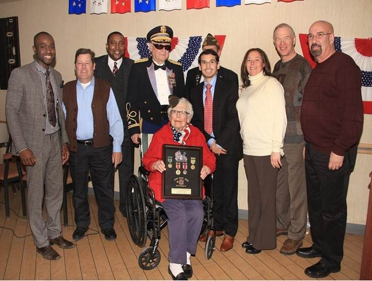 World War II veteran Ann Vener Burger was recognized for her service by local veterans and officials.