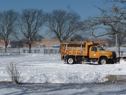 Snowplows were out in full force Wednesday, clearing the roadways outside Oceanside Middle School on Alice Avenue.