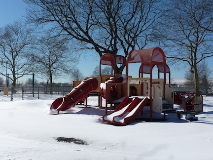 Oceanside Park was blanketed with up to 10 inches of snow after the storm, with no children to be found.