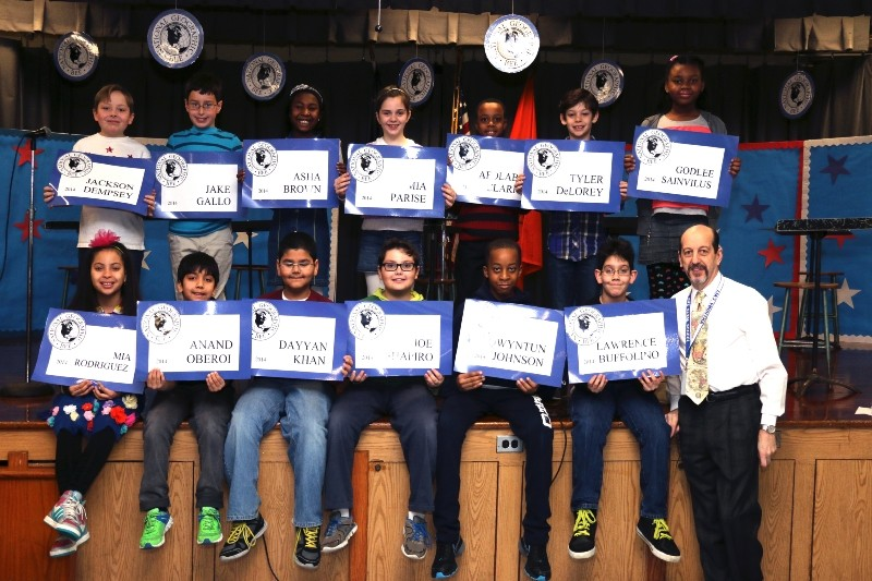 geography bee contestants Jackson Dempsey, top left to bottom right, Jake Gallo, Asha Brown, Mia Parise, Afolabi Clarke, Tyler DeLorey, Godlee Sainvilus, Mia Rodriguez, Anad Oberoi, Dayyan Khan, Joe Shapiro, Qwyntun Johnson and Lawrence Buffolino.