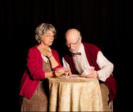 "Linda Hanson, of Woodmere, and Ed Murray star in Plaza Theatrical Productions' staging of ""The Gin Game,"" at The Show Place at Bellmore Movies in Bellmore."