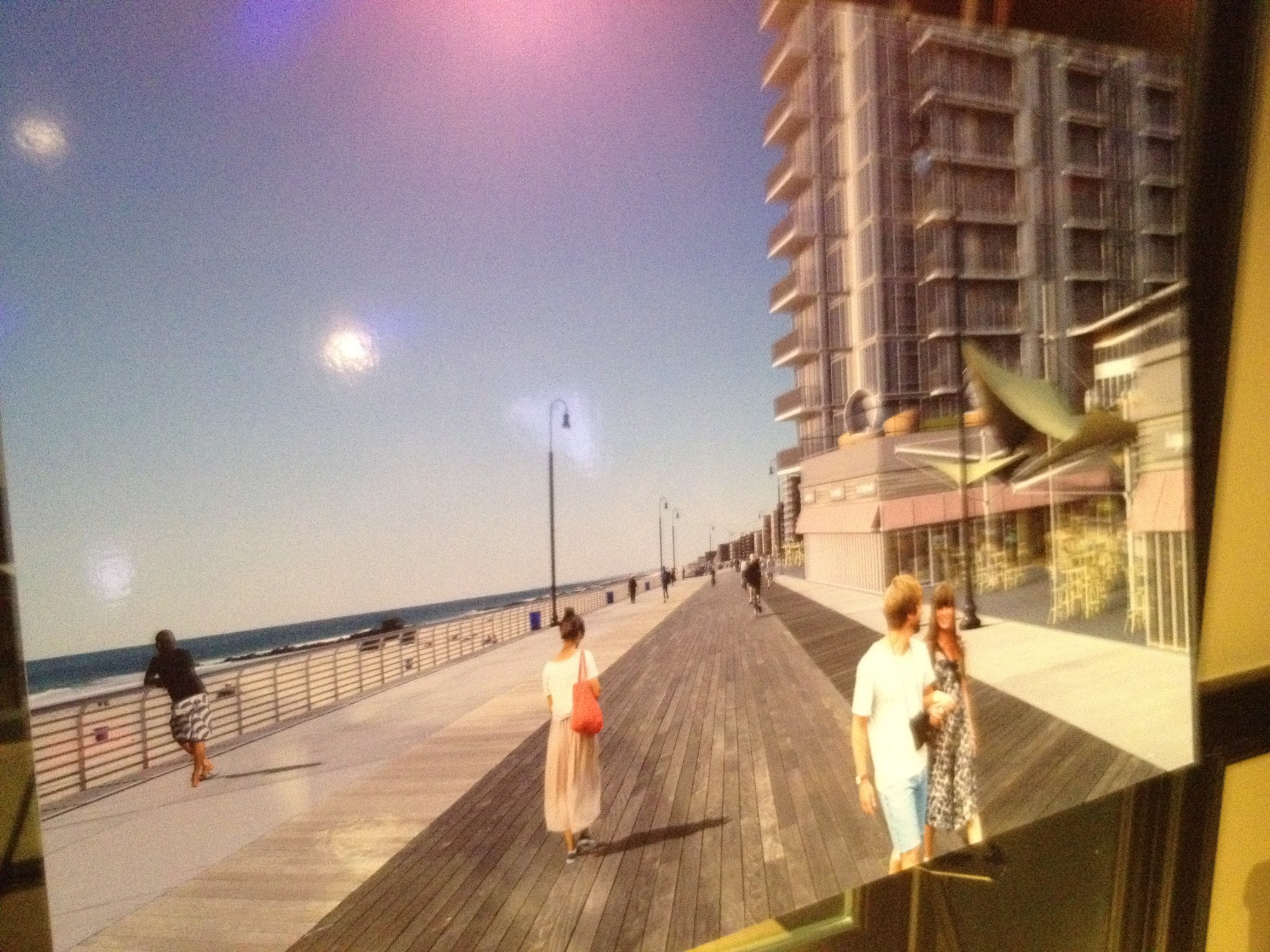 A rendering of the shops that would run along the boardwalk.