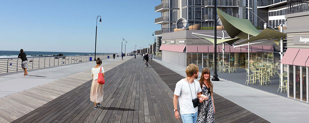 A rendering of the shops along the boardwalk.