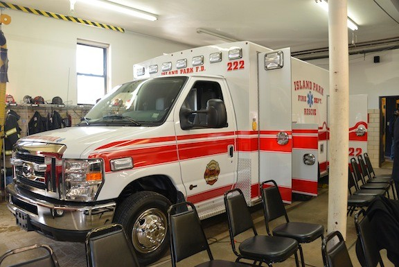 The new ambulance in Island park has state-of-the-art features, such as salt-resistant aluminum.