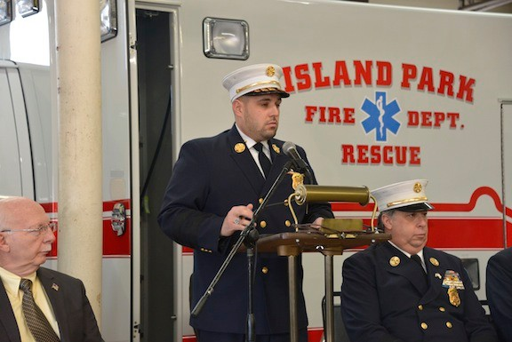 Chief Anthony D'Esposito welcomed everyone to the ceremony for the new ambulance at IPFD.
