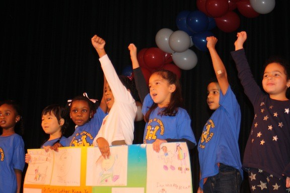 Kindergartners from Maurice W. Downing's Malverne After School Center paid tribute to the legacy of Dr. King at the Malverne School District's 28th annual Dr. Martin Luther King Jr. celebration.