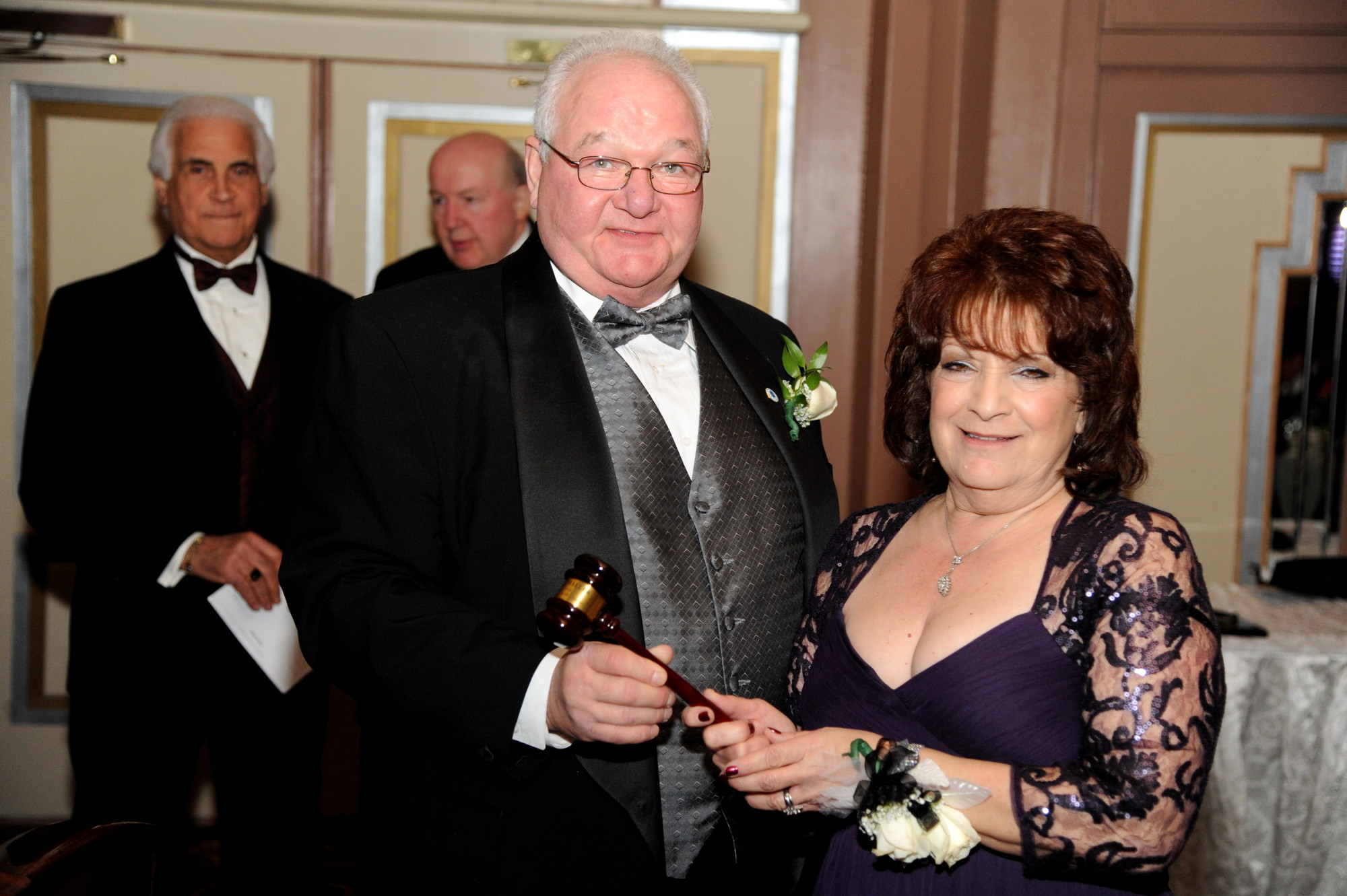 The passing of the gavel: newly installed Chamber President Stephen Haller with Immediate Past president Dolores Rome.