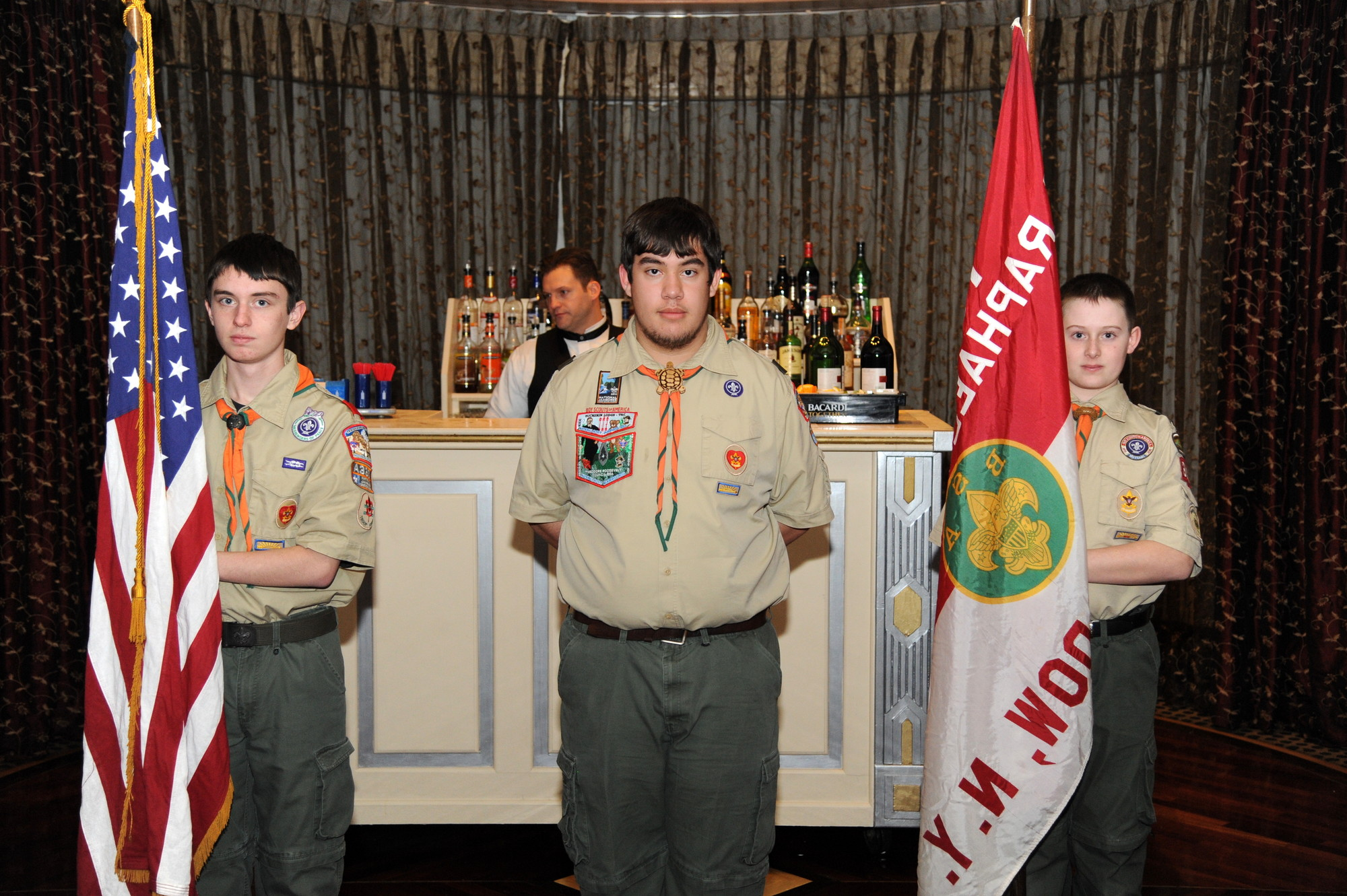 Thomas Ferrone, left, Patrick Hart, Jack Doughty of East Meadow Boy Scout Troop 362 led the Color Guard at the beginning of the East Meadow Chamber of Commerce's 59th Annual Installation of Officers and Board of Directors on Jan. 24 at the Chateau Briand in Carle Place.