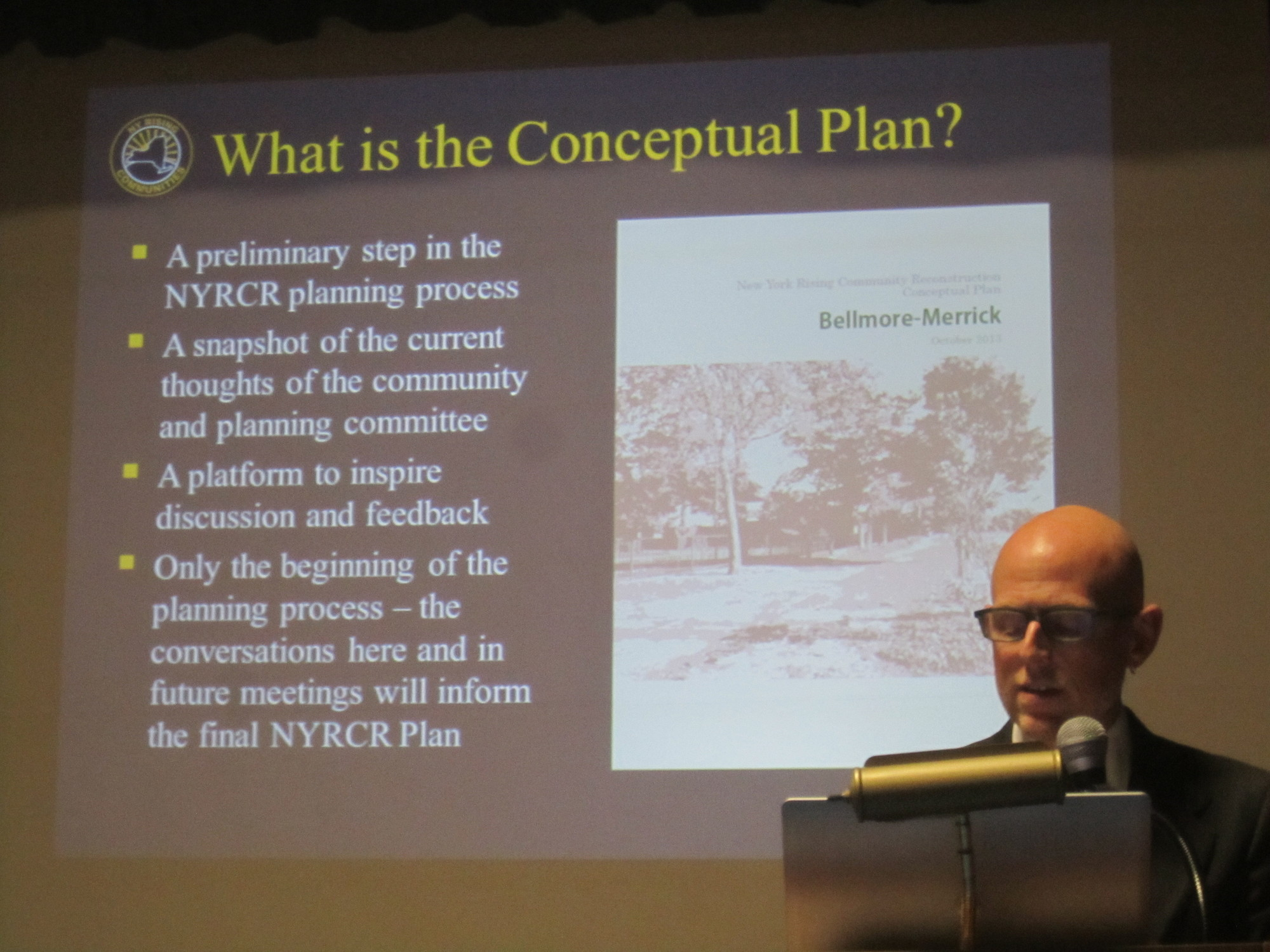 Trent Lethco, a consultant with Ove Arup & Partners, P.C, addressed an earlier meeting of the New York Rising Community Reconstruction Program's Bellmore-Merrick Planning Committee on Nov. 20, 2013.