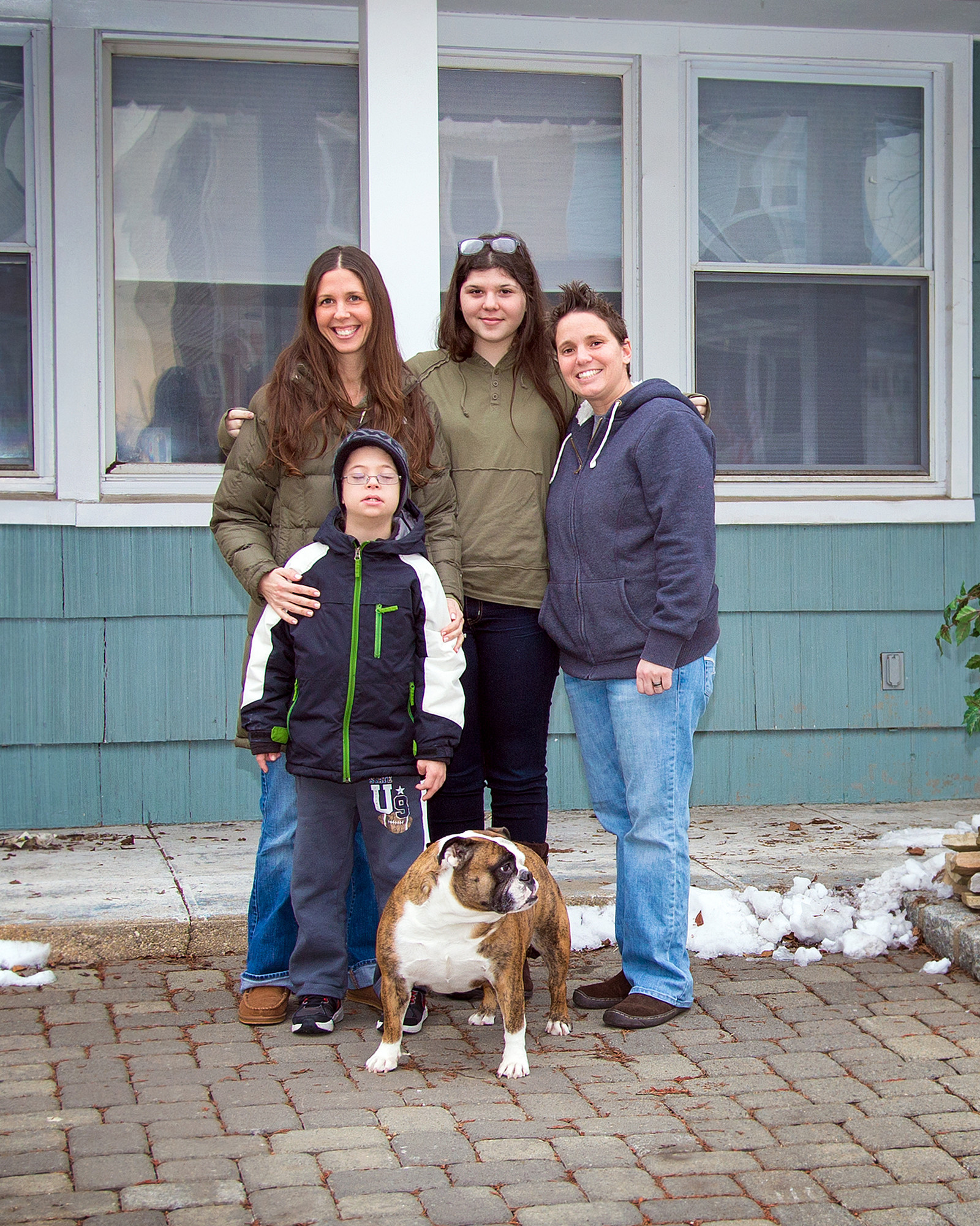 "Homeowners Jill and Kerri Rehnback were asked last week by one of the show's location scouts if they could use their home to film a scene for ""The Good Wife."" Jill Rehnback, far left, and Kerri Rehnback, right, with children Paisley, 17, and Jett McKevitt, 12, and their dog, Rosie."