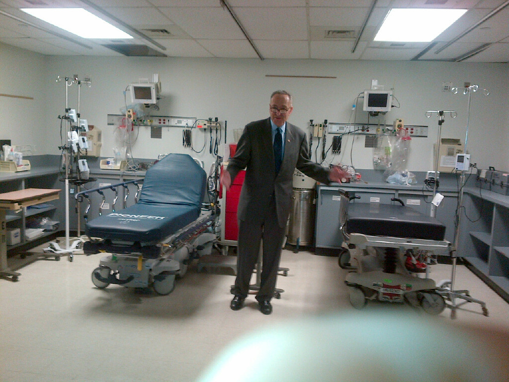 Schumer said that the hospital's beds and other equipment remain unused 15 months after Sandy.