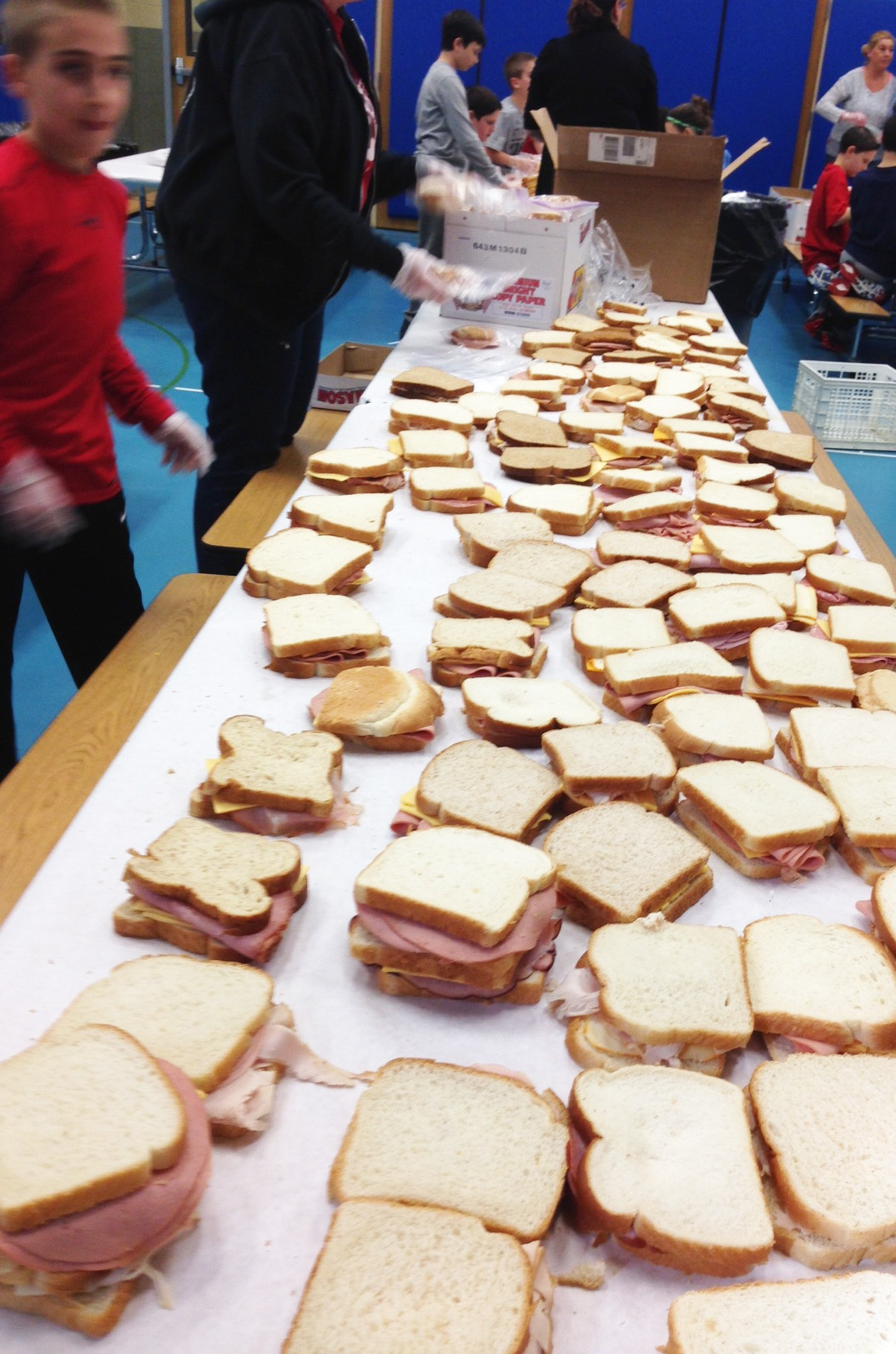 Sandwiches all lined up and ready for packaging. The sandwiches were sent to the River Fund Shelter in Richmond Hill, Queens.