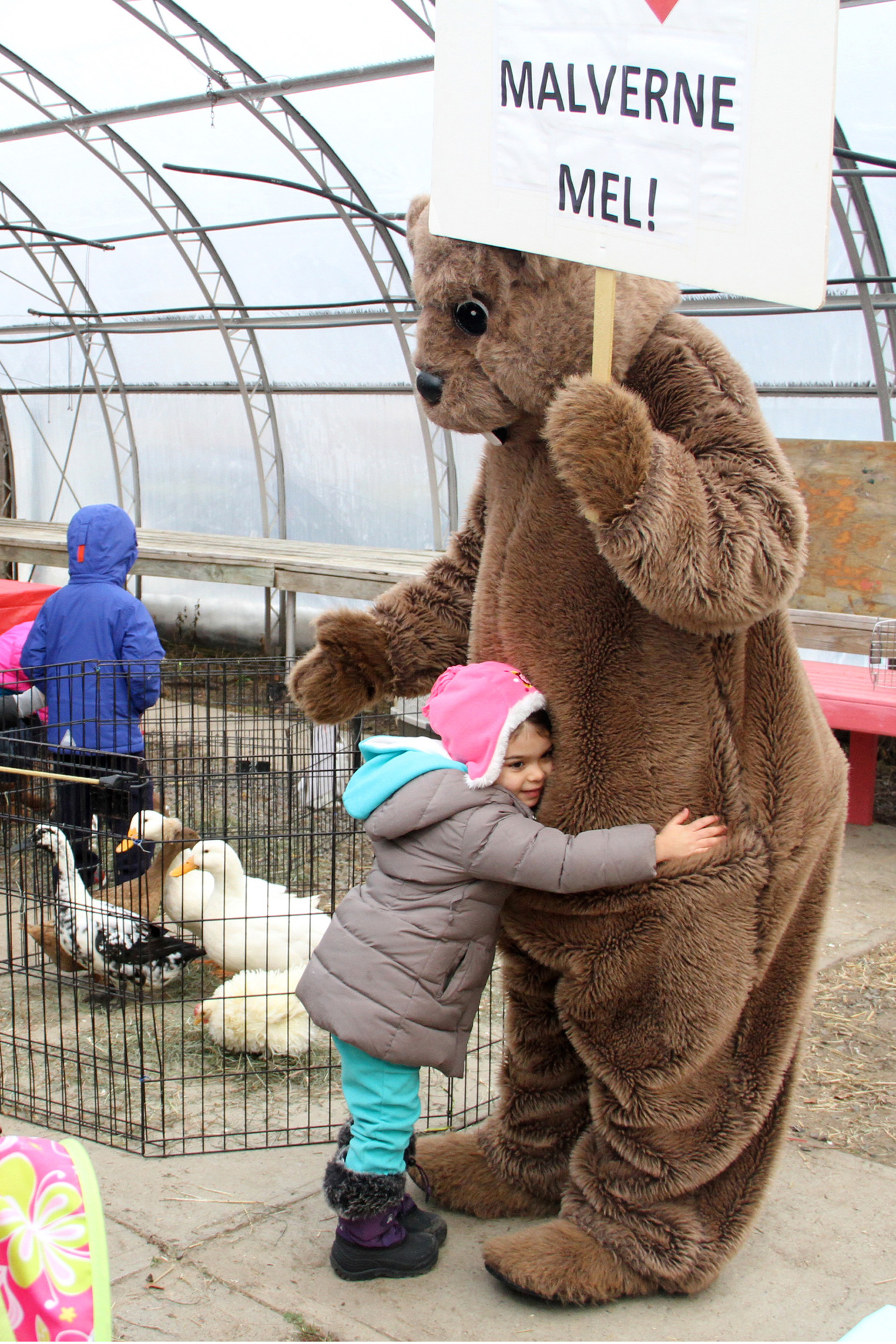 Siena Zawrotny gave the larger-than-life Mel a huge hug during the Groundhog Day festivities Sunday at Crossroads Farm at Grossman's.