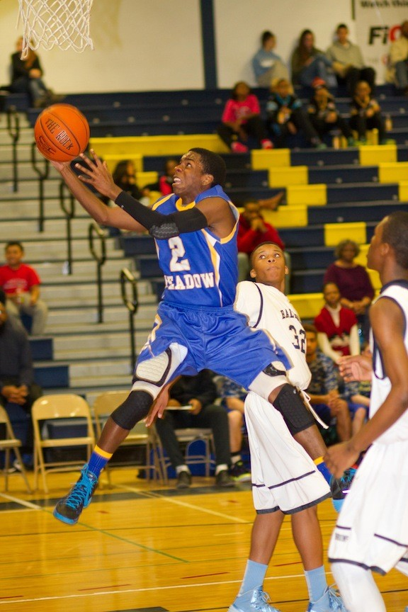 East Meadow's Damien Sanders gets to the rim during last Saturday's Conference AA-II defeat at Baldwin.